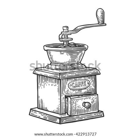 Coffee Mill Hand Drawn Sketch Style Stock Vector 422913727