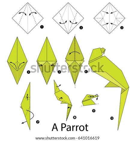 origami hummingbird diagram instructions citroen c5 suspension wiring easy owl new era of step by how make stock vector 365803586 crow swan diagrams