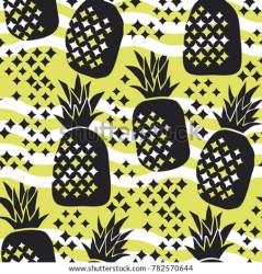 pineapple silhouette seamless concept pattern summer shutterstock vector motif