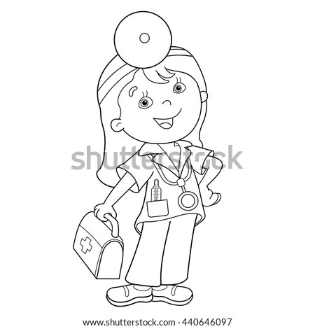 Coloring Page Outline Cartoon Doctor First Stock Vector