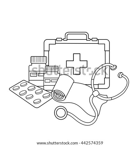 Coloring Page Outline Cartoon Doctor Ambulance Stock