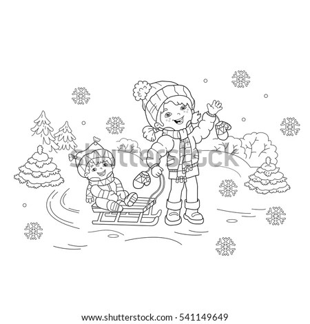 Winter Coloring Page Stock Images, Royalty-Free Images