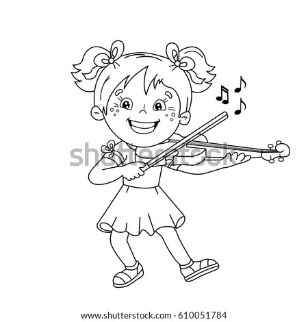 Coloring Page Outline Cartoon Girl Playing Stock Vector