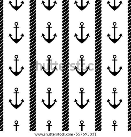 Vector Seamless Pattern Anchor Rope Creative Stock Vector