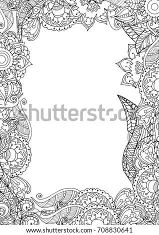 Zentangle Frame Border Adult Coloring Book Stock Vector