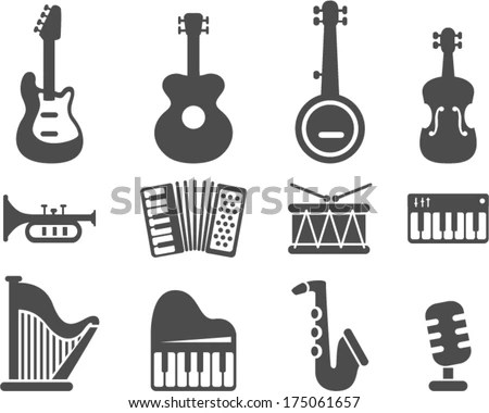 Vector Music Instruments Separate Layers Easy Stock Vector