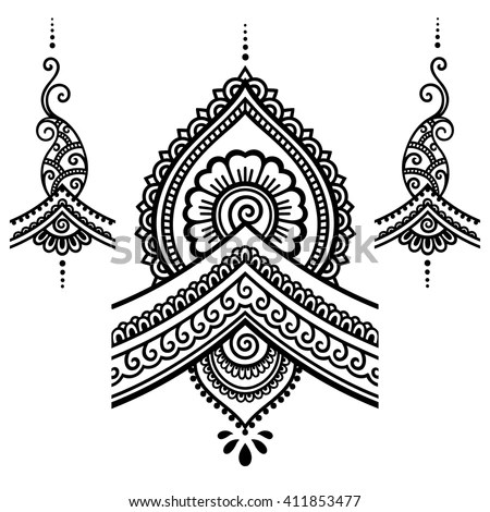 Set Mehndi Flower Pattern Henna Drawing Stock Vector