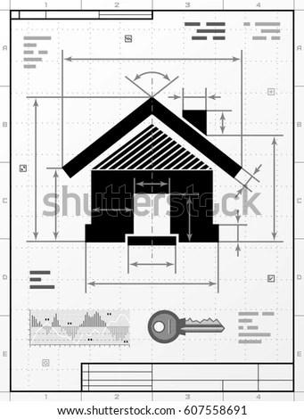 Blank Blueprint Paper Drafting Drawing Sheet Stock Vector