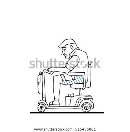 Old European Man Wheelchairhappy Retiredisolated Hand