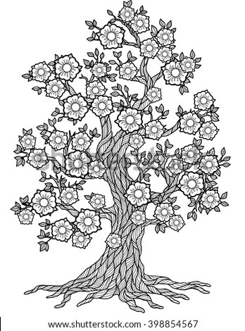 Doodle Blossom Tree Coloring Book Adult Stock Illustration