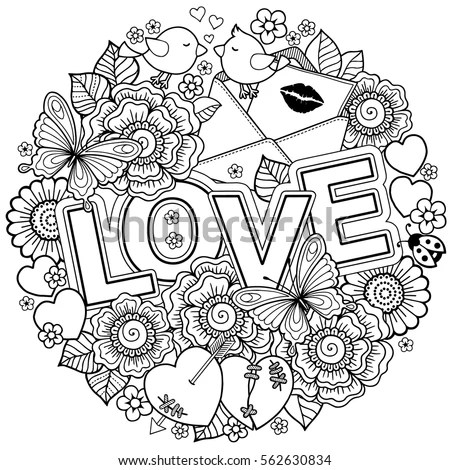 Vector Coloring Book Adult Design Wedding Stock Vector