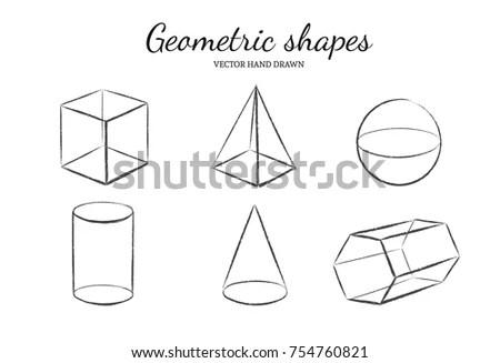 Geometric Shapes Set Vector Hand Drawn Stock Vector