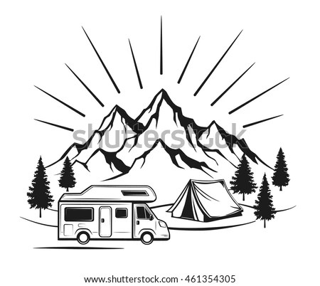 Campsite Camping Tent Rocky Mountains Pine Stock Vector