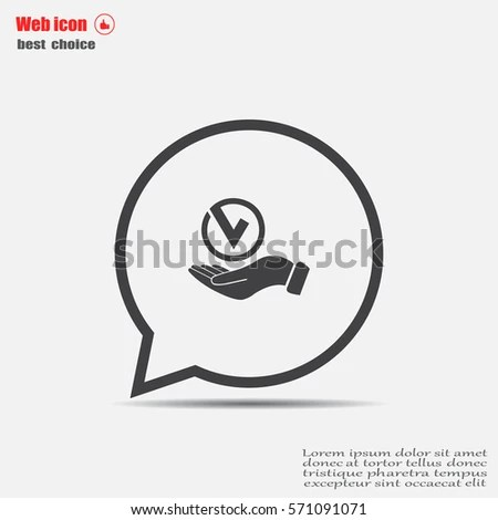 Tick Hand Icon Vector Illustration Flat Stock Vector