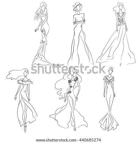 Vector Fashion Sketch Set Beautiful Models Stock Vector