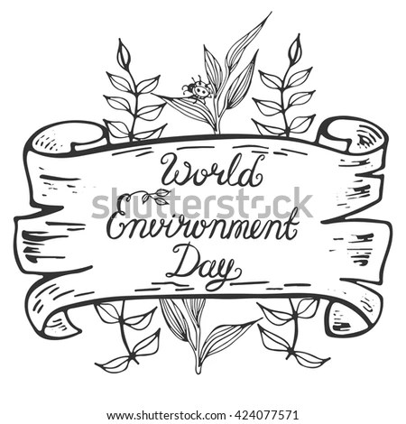 World Environment Day Lettering Poster Save Stock Vector