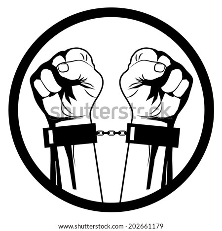 Hands Breaking Steel Chain Stock Vector 255369967