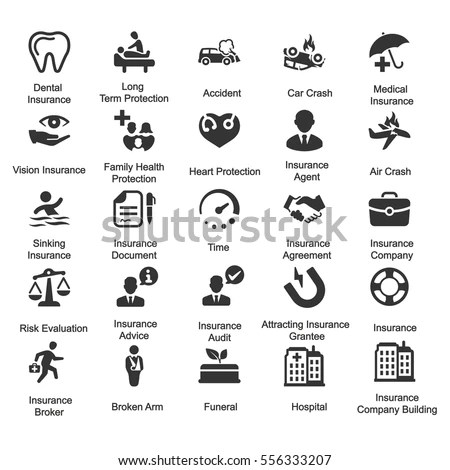 Health Insurance Icons Gray Series Set Stock Vector