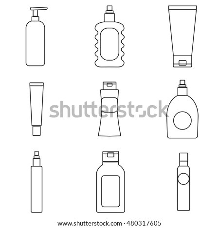 Cosmetics Packaging Outline Icons Vector Illustration
