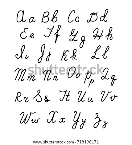 Hand Hand Fonts Handwritten Alphabet Style Stock Vector