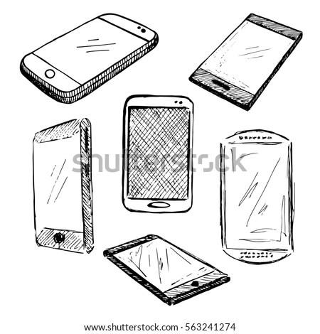Sketch Different Phones Smartphones Iphon Hand Stock