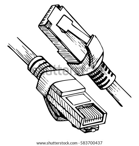 Ethernet Connector RJ 45 Internet Cable Sketch Stock