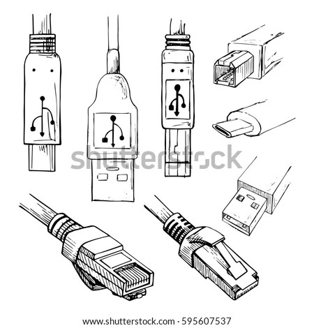 Set Data Connector Plug Different Usb Stock Vector