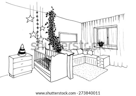 Pencil sketch of a room Stock Photos, Images, & Pictures