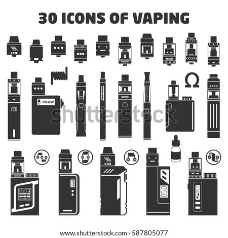 Solid Set Vaping Objects Vector Illustration Stock Vector