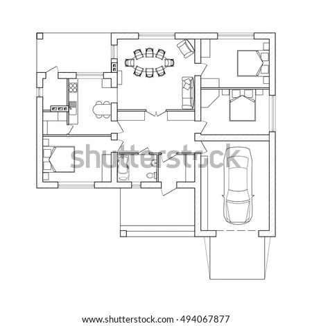 Suburban House Interior Black White Floor Stock Vector