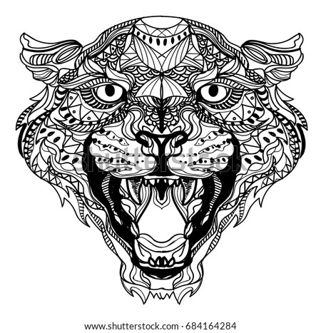 Leopard Coloring Meditation Coloring Mandala Head Stock
