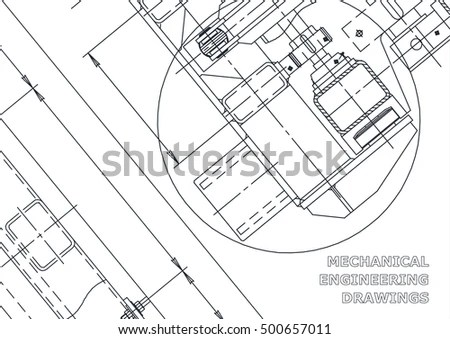 Mechanical Engineering Drawing Blueprints Stock