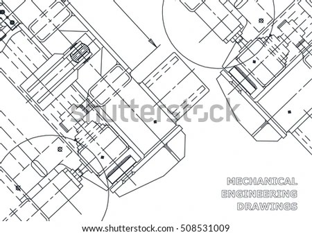 Mechanical Engineering Drawing Blueprints Stock