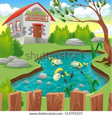 Fish Pond Vector Stock Vector 514703107 Shutterstock