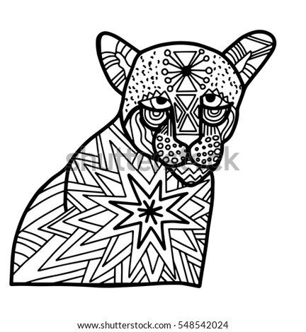 Panther Doodle Blank Coloring Page Relaxation Stock Vector