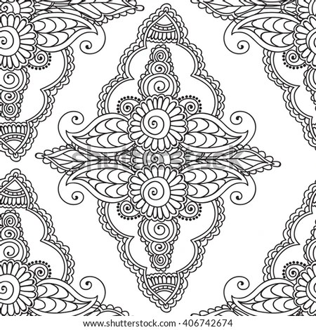 Coloring Pages Adults Seamless Pattern Henna Mehndi