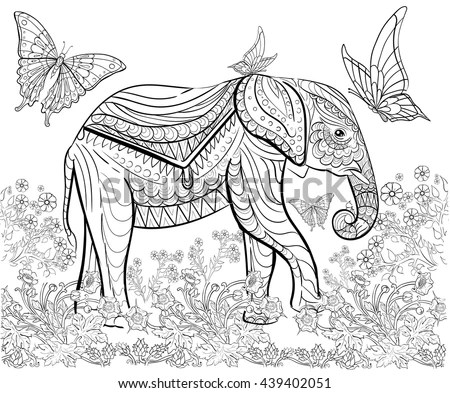 Zentangle Stylized Elephant Bamboo Forest Animals Stock