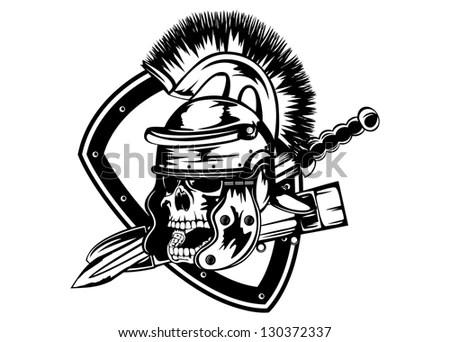 Vector Illustration Skull Legionary Helmet Sword Stock