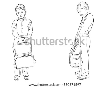 Student Holding School Bag Bowed His Stock Vector