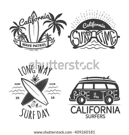 Set Vintage Surfing Logos Emblems Badges Stock Vector