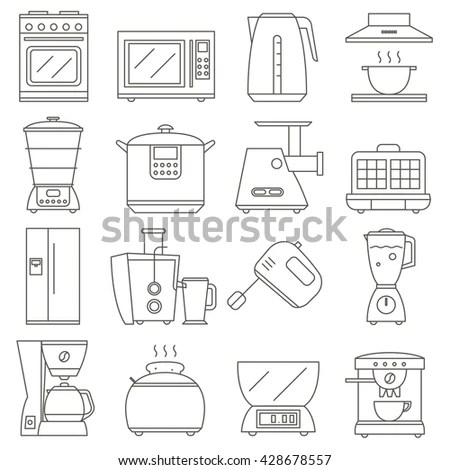 Big Set Line Icon Electrical Kitchen Stock Vector