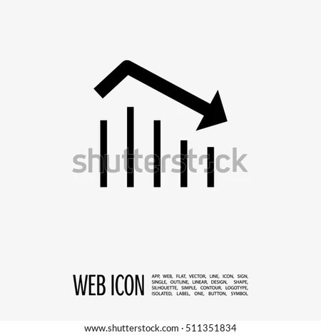 Trend Down Isolated Minimal Icon Business Stock Vector