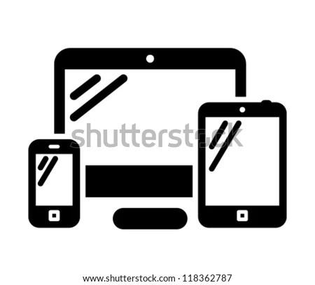 Mobile Phone Desktop Computer Tablet Pc Image Vectorielle