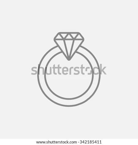 Diamond Ring Outline Vector Icon Contour Stock Vector