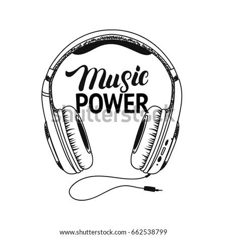 Headphone Tee Print Music Power Hand Stock Illustration