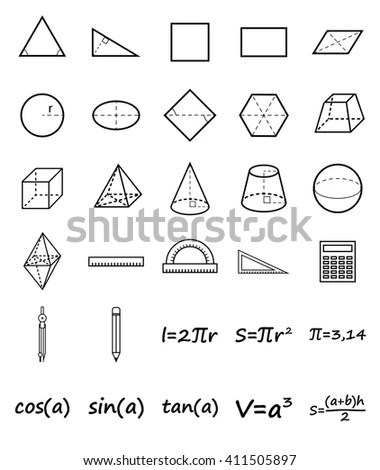 Set Geometry Icons Science Basic Education Stock Vector