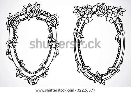 Decorative Frame Oval Roses Stock Images, Royalty-Free