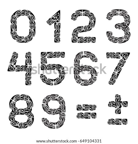 Digits Numbers Set Floral Elements Retro Stock Vector