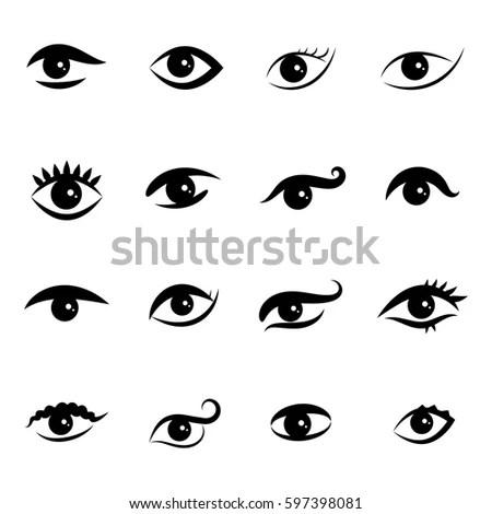 Set Eye Icons Isolated On White Stock Vector 597398081