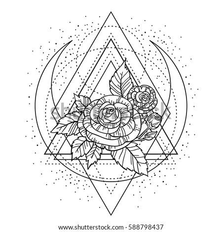 Rose Flower Sacred Geometry Frame Tattoo Stock Vector